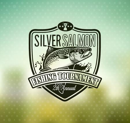 chinook: Salmon Emblem on Blur Background. Vector Illustration.