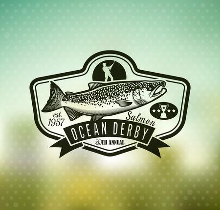 Emblème de saumon sur fond de flou. Illustration vectorielle