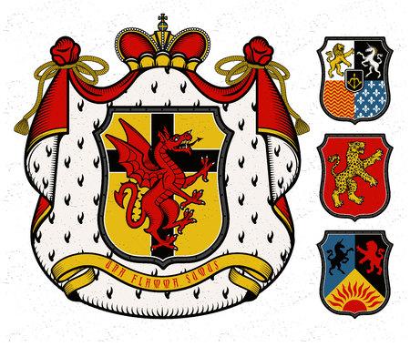 盾、王冠、紋章マントリングと獣デザインのヴィンテージスタイルのベクトル紋章図  イラスト・ベクター素材