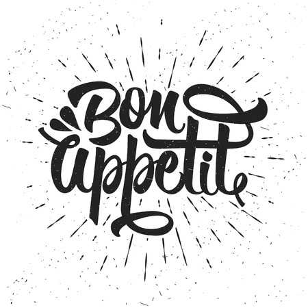Hand drawn typography poster. Inspirational vector typography. Bon appetit. Vector calligraphy. 矢量图像