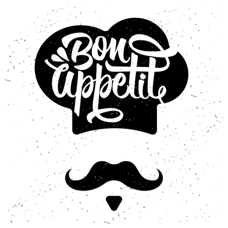 Hand drawn typography poster. Inspirational vector typography. Bon appetit. Vector calligraphy.  イラスト・ベクター素材