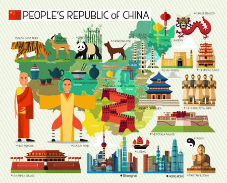 great wall: Vector Set of Various Chinese Icons. Illustration.
