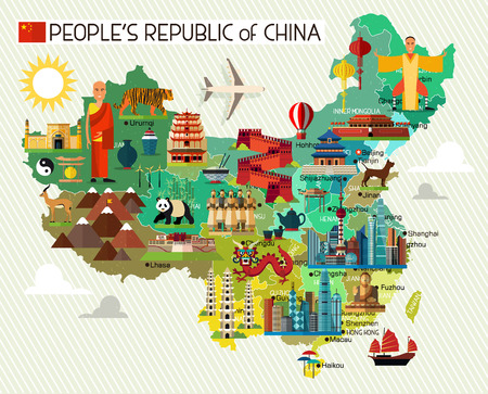 wall maps: Map of China and Travel Icons.China Travel Map. Vector Illustration.