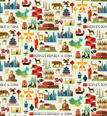 中国のシームレスなフラット パターン。様々 な中国のアイコンのベクトルを設定します。 写真素材 - 69075206