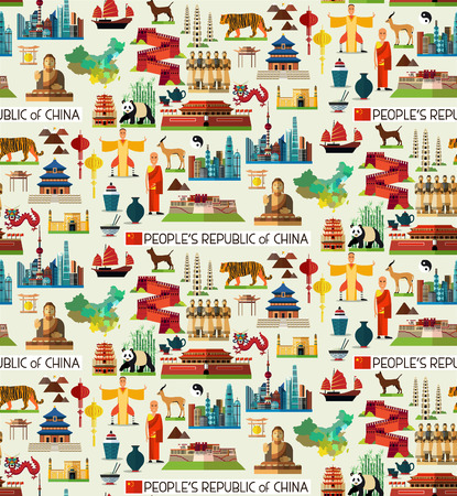 China Seamless Flat Pattern. Vector Set of Various Chinese Icons.