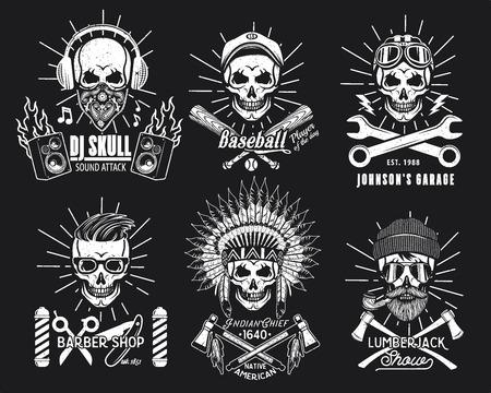 Skull Logo Set. Vector Illustration. DJ, Baseball Player, Mechanic, Barber an Indian Chief Lumberjack Vettoriali