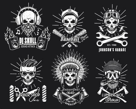 Skull Logo Set. Vector Illustration. DJ, Baseball Player, Mechanic, Barber an Indian Chief Lumberjack Çizim