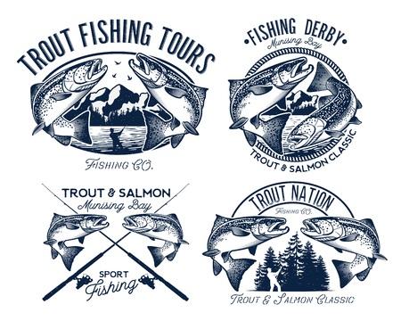 Fishing Logo Set Stock Photo