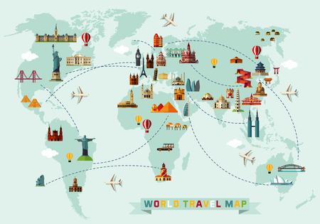 Map of the World and Travel Icons. Stock Illustratie