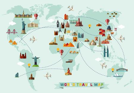 Mappa del mondo e icone di viaggio.