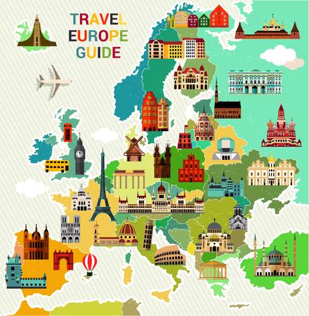 ヨーロッパ旅行地図。  イラスト・ベクター素材