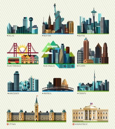Amerikaanse en Canadese steden. Vectorillustratie Vector Illustratie