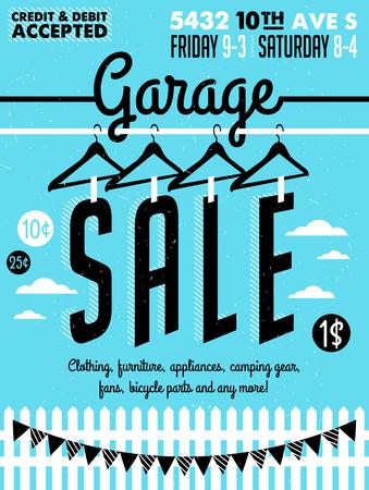 차고 판매 포스터 일러스트