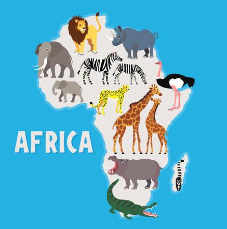 Animales africanos. Ilustración vectorial.
