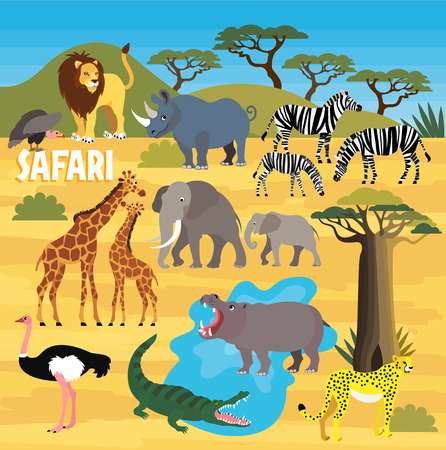 africa baobab tree: African Animals. Vector Illustration. Illustration