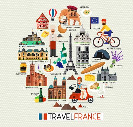 Frankrijk Bezienswaardigheden en reiskaart. Frankrijk Reispictogrammen. Vectorillustratie.