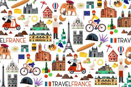 Frankrijk Bezienswaardigheden en reiskaart. Vectorillustratie. Stock Illustratie