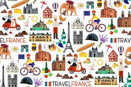 France Landmarks and Travel Map. Vector Illustration.