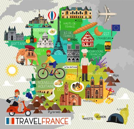 フランスのランドマークとの旅行地図。フランス旅行のアイコン。ベクトルの図。