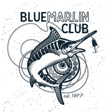 釣りのベクトルのロゴ。青いマカジキやメカジキのアイコン。