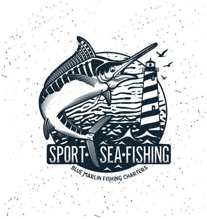 Logo vectoriel de pêche. Icône de marlin bleu ou d'espadon.