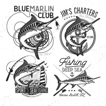 pêche vecteur de signe . marlin bleu ou icône de l & # 39 ; espadon