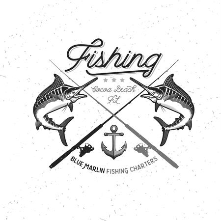 pez vela: Logotipo Del Vector De La Pesca. Azul Marlin o icono de pez espada.