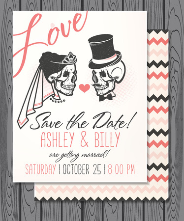 squelette: Vector Illustration with Skulls of Bride and Groom.