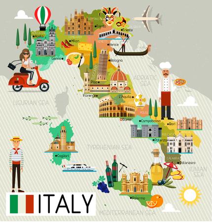 Italië Reiskaart. Stockfoto - 81183073