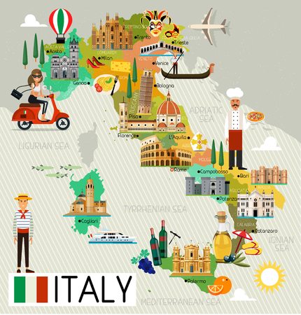 naples: Italy Travel Map.