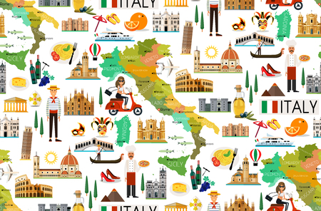 Map of Italy and Travel Icons.Italy Travel Seamless Pattern. Vector Illustration.