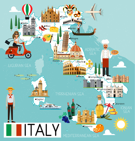 Italy Travel Map.