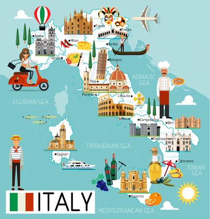 Olaszország utazási térkép. Illusztráció