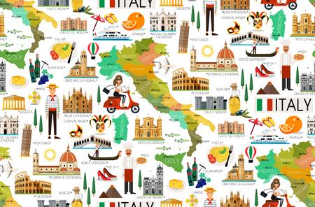 Kaart van Italië en Reis Icons.Italy Travel Seamless Pattern. Vectorillustratie.