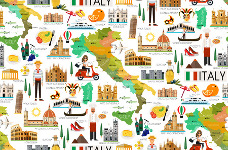 Italy Travel Pattern. Stock Photo