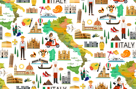 Italy Travel Pattern. 版權商用圖片