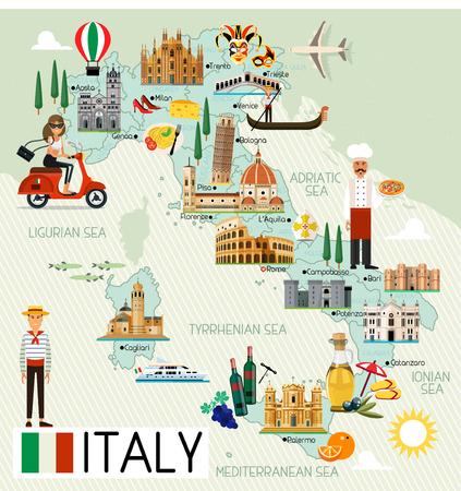 Italien Reisekarte. Standard-Bild - 81312252
