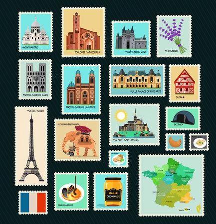 프랑스 여행 우표.