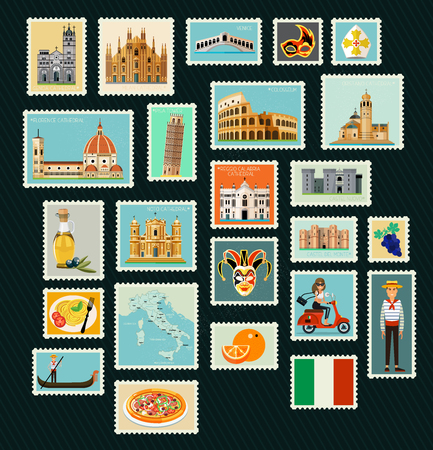 Italy Travel Stamps. 矢量图像