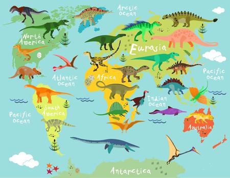 Dinosaurs carte du monde pour les enfants et les enfants