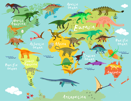 Dinosaurs map of the world for children and kids Ilustracja