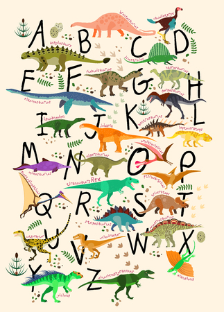 Learning Alphabets With Dinosaurs. ABC Dinosaurs. Vector Illustration Çizim