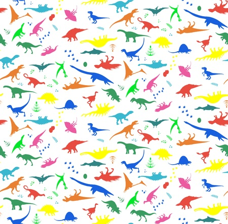 Seamless Patterns with Dinosaurs. Vector illustration. EPS 10