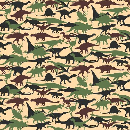 恐竜と迷彩柄のシームレスです。ベクトルの図。