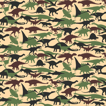 Seamless of camouflage pattern with Dinosaurs. Vector illustration.