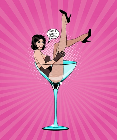 Pin Up Girl In Martini Glass. Vector Illustration.