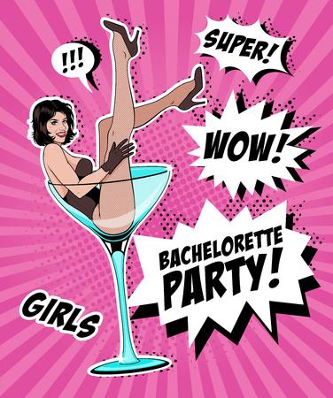 Pin Up Girl In Martini Glass. Vector Illustration.