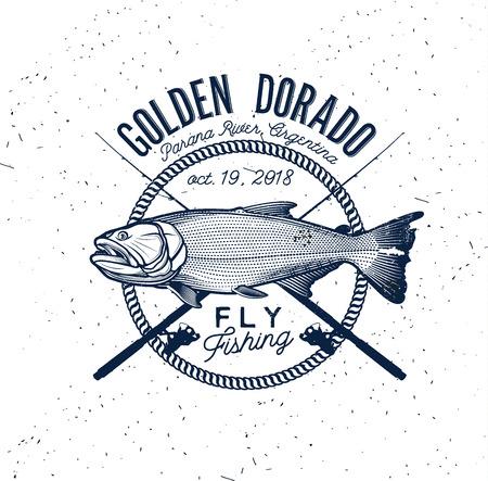 Golden Dorado Fishing Logo. Vector Illustration.