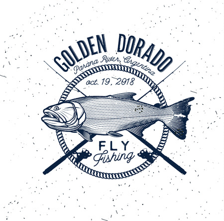 Golden Dorado Fishing Logo. Vector Illustration.