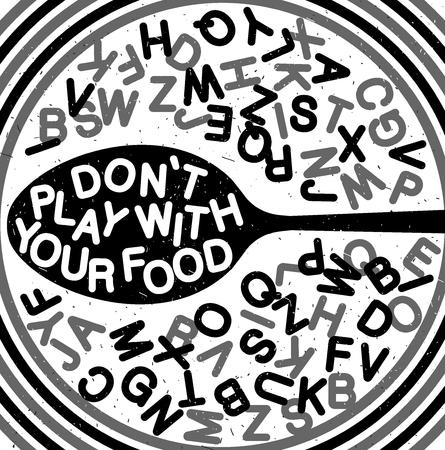 Handgezeichnete Typografie Poster. Inspirierende Typografie. Nicht mit Essen spielen Standard-Bild - 84500327